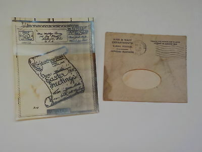 WWII V-Mail Easter Greeting Card 1945 Persian Gulf Command Toledo Ohio VTG WW2
