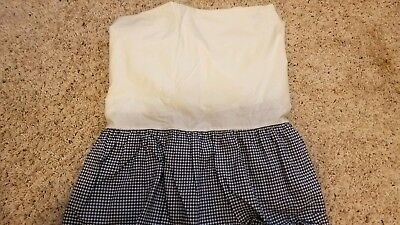 Pottery Barn Kids Gingham Check Dust Ruffle Crib Nursery Bed Skirt Navy Blue