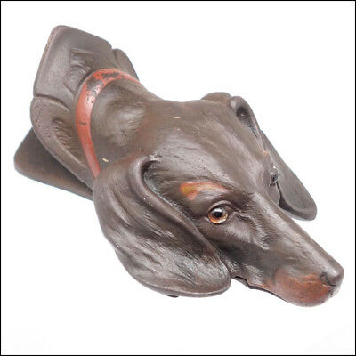 Antique Cold Painted Dachshund Dog Head Glass Eyes Paper Clip Bill Holder