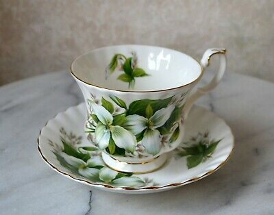 "Royal Albert Flower Of The Month -  "" Trillium "" Tea Cup & Saucer Set"