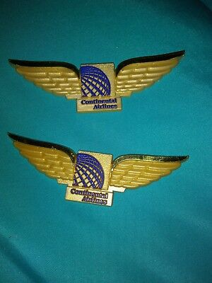 Vintage Continental Airlines Plastic Wings--- lot of 2