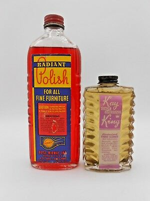 2 Vintage Art Deco Cleaning Products Glass Bottle & Label General Store Polish