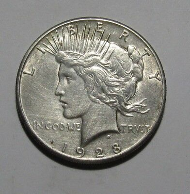 1928 Peace Dollar - AU Condition / Cleaned - 274SU