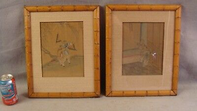 2 Antique Asian Children Playing W/C on Silk Landscape Paintings