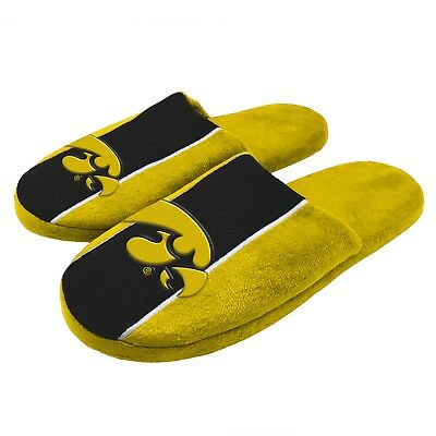 Pair of Iowa Hawkeyes Big Logo Stripe Slide Slippers House shoes New STP18