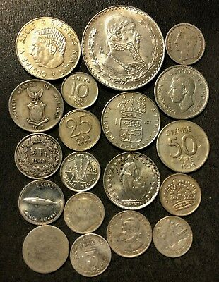 Vintage WORLD Silver Coin Lot - 1897-1967 - 19 Silver Coins - Lot #N18