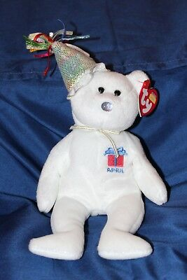 658f0eaf85a TY Beanie Baby April Birthday Bear MWMT Retired Birthday April 2002