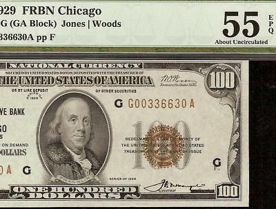 1929 $100 Dollar Federal Reserve Bank Note National Currency Money Pmg 55 Epq
