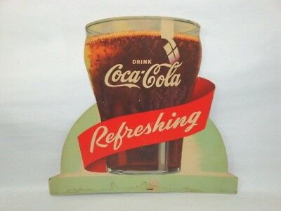 Nice Old Die Cut Easel Back Counter Top Coca Cola Brand Soda Advertising Sign