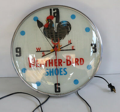 """1950s 15"""" WEATHERBIRD SHOES Light Up CLock rooster chicken pam"""