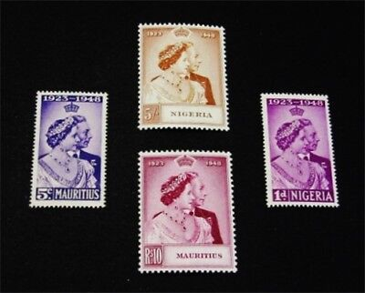 nystamps British Mauritius & Nigeria Stamp Mint OG NH $36 Silver Wedding Issued