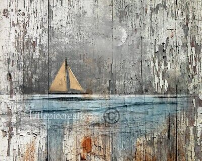 Rustic Coastal Brown Blue Sailboat Wall Art Home Decor Matted Picture