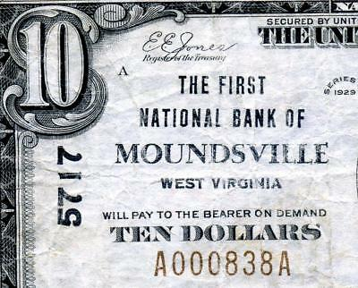 HGR SUNDAY 1929 $10 MOUNDSVILLE West Virginia (Highly WANTED W.V.) AWESOME GRADE