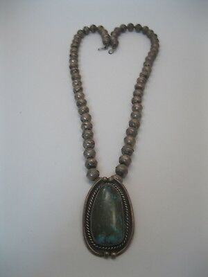 Lot 156 - Vintage Navajo Silver Bead Necklace w Beautiful Turquoise Pendant