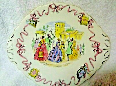 Queen Anne Those Where The Days Street Scene Stencil Cake Plate