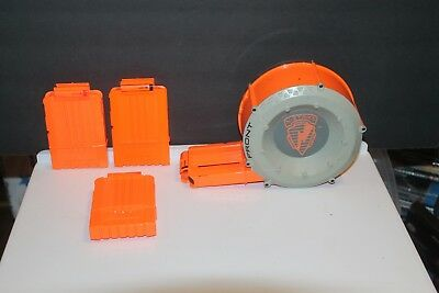 Nerf N-Strike 35 Round Drum Clip Dart Gun Ammo Magazine Barrel Plus 3 Clips of 6