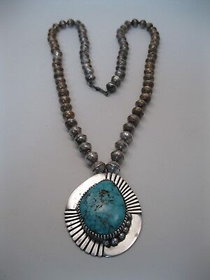 Lot 159 - Amazing Jessie Claw Navajo Silver Bead Necklace w Turquoise Pendant