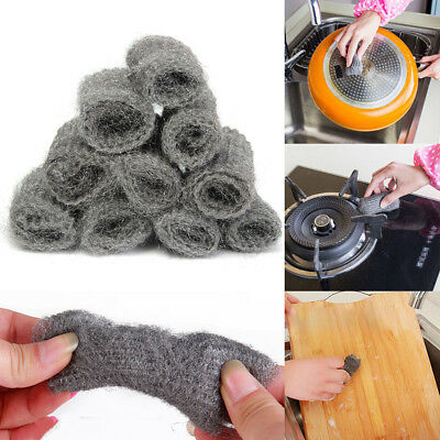 24x Steel Wool Pads Kitchen Wire Cleaning Ball Stainless Steel Pan Cleaner