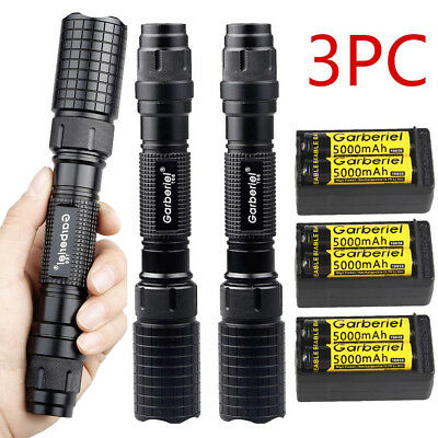 90000Lumens T6 LED Zoomable Super Bright Torch 18650 Tactical Flashlight Light