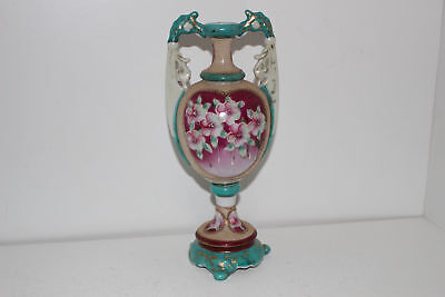 "Vintage Hand Painted Beaded Moriage 2-Pc Porcelain 9.75"" Vase/urn-Nippon?"