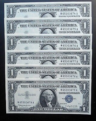 1957 B $1 Silver Certificates Fr.#1621 - 6 of 11 Consecutive offered tonight GEM