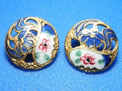 ANTIQUE LOT OF 2 PIERCED BLUE and WHITE W ROSETTE MATCHING BUTTONS