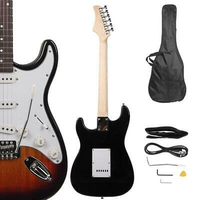 New Sunset School Music Electric Guitar Set w/ Gig Bag Strap Cord for Beginner