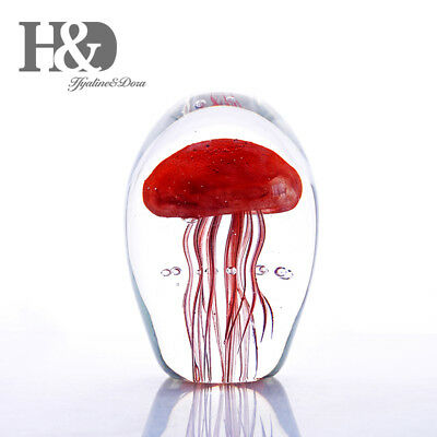 Handcraft Luminous Jellyfish Art Glass Blown Office Table Figurines Decor Gifts