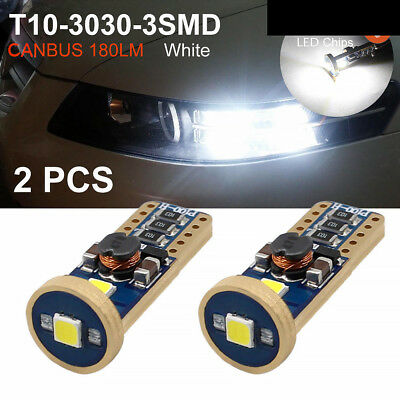 2 x T10 3030 3SMD Canbus No Error Bright LED White Car Wedge Side Light Bulbs