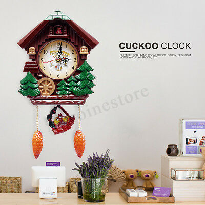Vintage Wooden Cuckoo Wall Clock Tree House Design Hanging Pendulum Weights