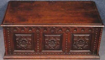 Late Georgian Small Carved Solid Oak Coffer / Blanket Box