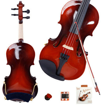 New 4/4 Maple Wood Acoustic Violin + Case + Bow + Rosin + Strings +Shoulder Rest