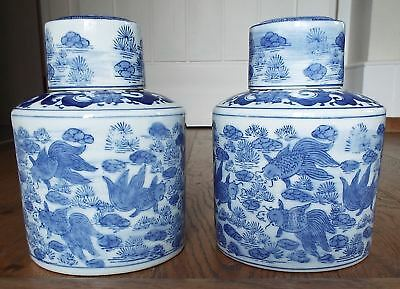 2 Chinese Blue & White Porcelain Ginger Jars Fish Asian Tail Water Lilly Design
