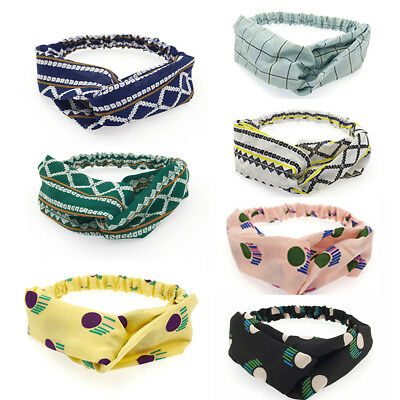 Women Girls Elastic Stripe Wave Point Floral Print Headband Knot Wide Hair Band