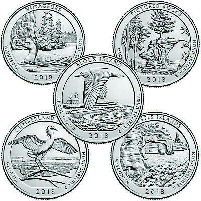 US State Park Quarters - 2018 Full Set 5-15 Coins - P/D/S Uncirculated, UK Stock