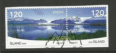 ICELAND 2009  SEPAC-LANDSCAPES (2) ON A PIECE, SCOTT 1235-1236, USED (o)