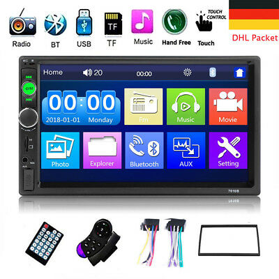 "HD 7"" Doppel 2 DIN Autoradio Bluetooth Car Stereo Touch MP3 Player USB + Rahmen"