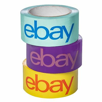 """3 Rolls 2"""" x 75 yard Purple, Blue, and Yellow eBay-Branded Packaging Tape"""
