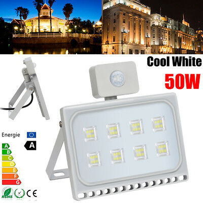 50W LED Floodlight PIR Motion Sensor Security Flood Light Outdoor Garden Cool UK