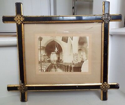 Antique Gilt & Ebonised Brass Corner Oxford Picture Frame Old Wavy Glass