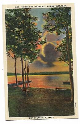 Vintage Minnesota Linen Postcard Sunset Lake Harriet Minneapolis City of Parks