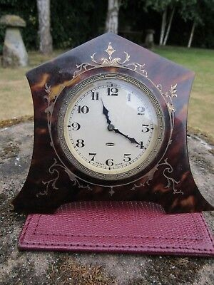Small Quality Faux Tortoiseshell Inlaid Gold Clock with Swiss 8 Day Movement