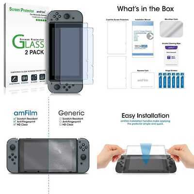 Amfilm Tempered Glass Screen Protector For Nintendo Switch 2017 2 Pack
