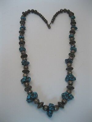 Lot 164 - Great Vintage Navajo Silver Bead Necklace w Seafoam Turquoise Nuggets