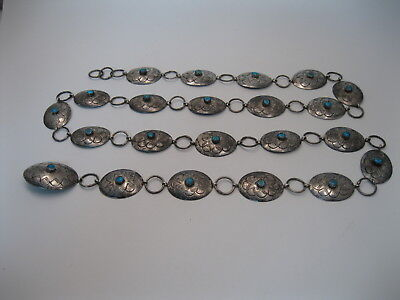 Lot 165 - Beautiful Nel J Navajo Sterling Silver & Turquoise Link Concho Belt