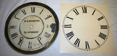 Antique Metal Clock Face with Brass Surround and a Spare Paper Replacement Dial