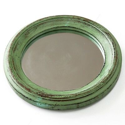 Rustic Shabby Chic Distressed Style Wooden Frame Round Wall Hanging Mirror - NEW