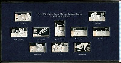 Stunning The 1980 U.S. Olympic Postage Stamps in Solid Sterling Silver Set JC853