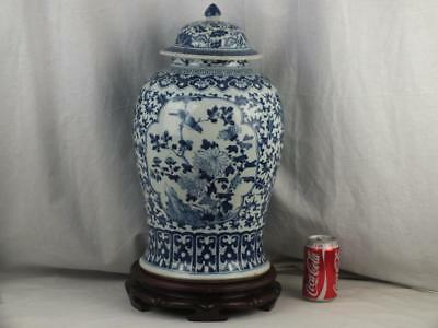 """Good 19"""" 19Thc Chinese Porcelain Blue White Birds Lotus Jar, Cover & Wood Stand"""