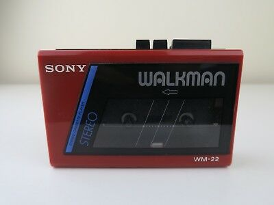 RED Sony WM-22 Walkman 1980'S 90'S Tape Cassette Player - Retro Vintage TESTED